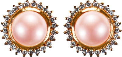 Pearl Paradise Moon Pearl, Swarovski Crystal Silver Stud Earring