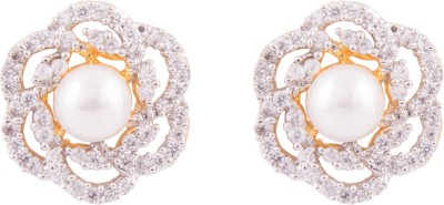 Jewel House Floral Cubic Zirconia Pearl Centre Copper Stud Earring