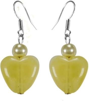Crystals & Beads Citrine Yellow Colour Heart Bead & White Pearl Bead Acrylic, Glass, Crystal Dangle Earring