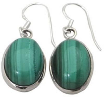 patashi exports malachite cab Malachite Sterling Silver Dangle Earring