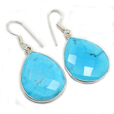 Silvesto India PG-1454 Turquoise Sterling Silver Dangle Earring