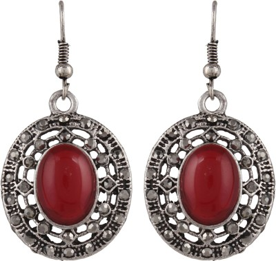 Anamis Antique look oval shape red colour -Traditional cum fashionable AMFJEP012 Aluminum Dangle Earring