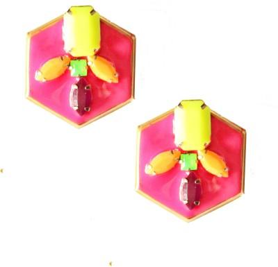 Ornamas Brass, Enamel Stud Earring