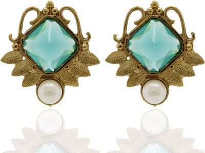 Ishaani Love Forever Crystal, Pearl Alloy Drop Earring