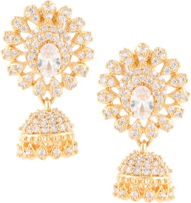 Beautiart Sunshine White Cubic Zirconia Alloy Jhumki Earring