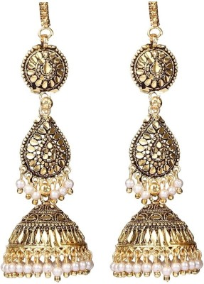 Giftmania Royal Paan Shaped Antique Pearl Brass Jhumki Earring