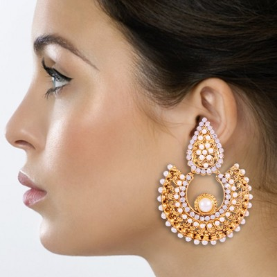 Kraft Central Shine and Sparkle Pearl Brass Chandbali Earring