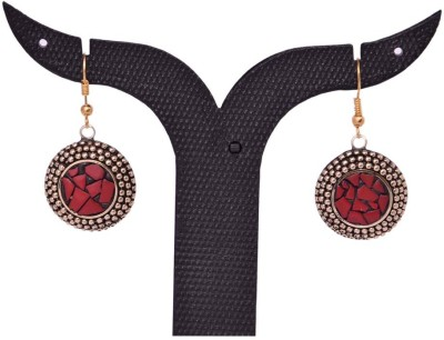 Tradition India TI166 Handmade Designer Stone Studded Traditional Lac Worked Brass Drop Earring