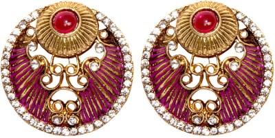 Bezel T - 660 - Pink Alloy Stud Earring