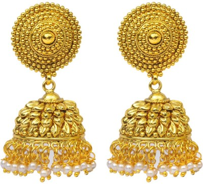 Jillcart Leaf Design Gold Plated Earring With Pearls Pearl Copper Jhumki Earring