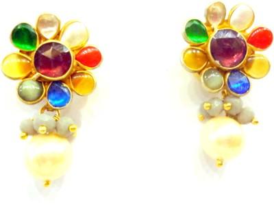 Prism Jewels Navratan Tops Turquoise Alloy Drop Earring