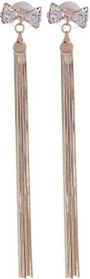 Fashnopolism My Bow Crystal Statement Metal Tassel Earring