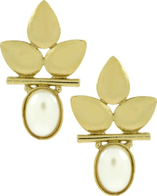 Naveli Three Leaf Floral Antique Gold Plated Copper Drop Earring