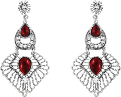 Donna Red Round Square Crystal Metal Drop Earring