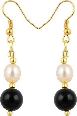 Pearlz Ocean Intrigue Pearl, Onyx Alloy Dangle Earring