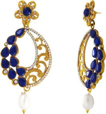 Donna Blue Oval Floral Crystal, Pearl Alloy Chandbali Earring