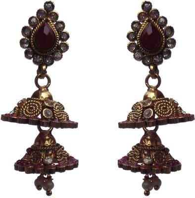 Kundaan Wedding Earrings Crystal Alloy, Copper Jhumki Earring