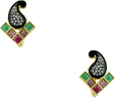 Orniza Victorian Earrings in Multi-Colour Color and Black Gold Polish Brass Stud Earring