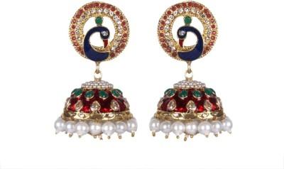 Tatva Peacock Exclusive American Diamond With Ruby And Enamel Based Pearl Earrings Alloy Jhumki Earring