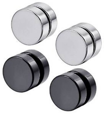 Vaishnavi First Quality Two Pair Never Rusts Original Non-Pierced Stainless Steel Magnetic Earring