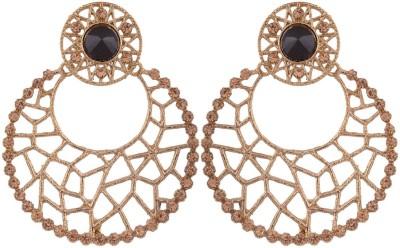 Grandiose Filigree Antique Rhodium Plated Copper Chandbali Earring