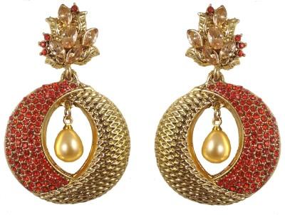 Hotpiper Elegant Red Cubic Zirconia, Pearl Alloy Chandbali Earring