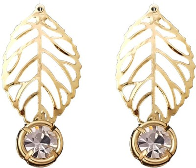 Super Drool Leaf And Crystal Alloy Drop Earring