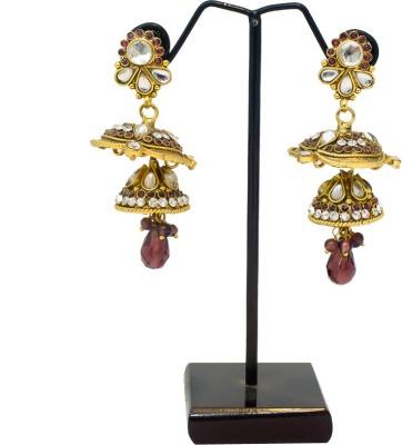 Supreme Art Jewellers Ethnic Style Purple Color Copper Jhumki Earring