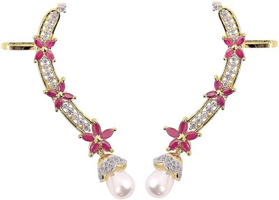 Muchmore Designer Partywear Pink Cubic Zirconia Alloy Cuff Earring