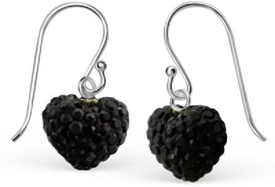 Maayin Black Heart Crystal Sterling Silver Dangle Earring