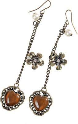 Jewel Touch Lined Coffee Opal Peach Heart Alloy Dangle Earring