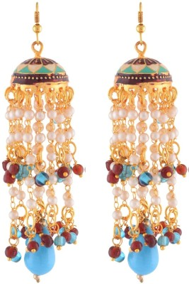 Enzy Mesmerising Colour Spark - Blue Alloy Jhumki Earring