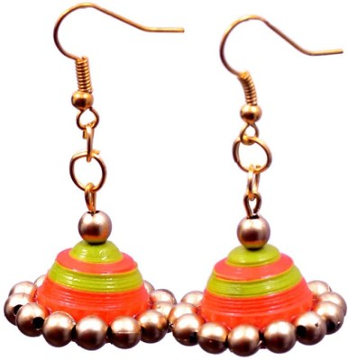 Rivory Bros Ethnic Quilled Orange And Green Jhumkis Paper Dangle Earring