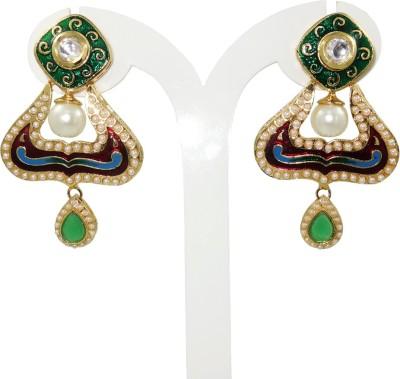 Anjan Beautiful Designer Golden Cubic Zirconia Brass Dangle Earring