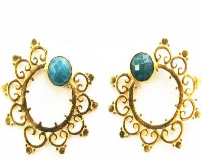 Bhrti gold plated studs Emerald Brass Stud Earring