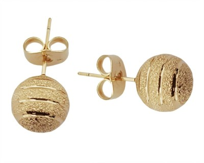 Mehrunnisa 18k Gold Tone Ball For Girls Metal Stud Earring