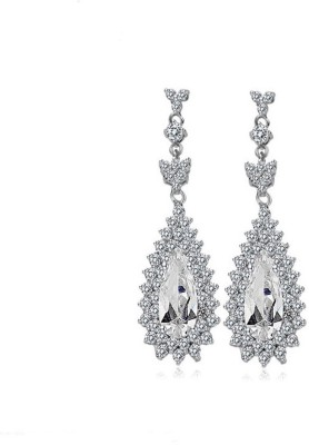 Yellow Chimes Diamond Sparkling Metal Drop Earring at flipkart