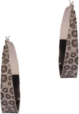 Circuzz Stylish Round Silver Motif Brown Brass Hoop Earring