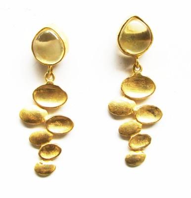 Bhrti semi precious Gold plated Topaz Brass Dangle Earring