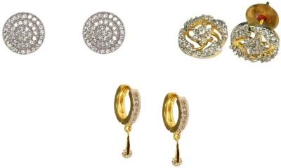 Rashi Jewellery Sparkle Set Of 3 Combo Cubic Zirconia Alloy Earring Set