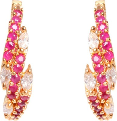 Abhijewels American Diamond Studded Gold Plated Alloy Huggie Earring