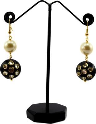Bharat Sales Round shape pearl Cubic Zirconia Alloy Cubic Zirconia Copper Tassel Earring