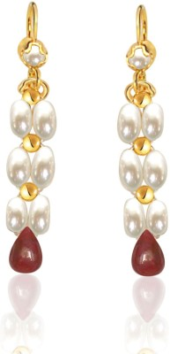 Surat Diamond Glowing Ruby, Pearl Metal Drop Earring