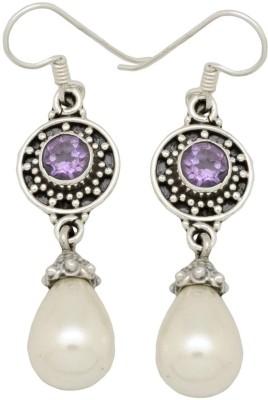YugshaJewels Elegant YJE-1058 Pearl, Amethyst Sterling Silver Dangle Earring