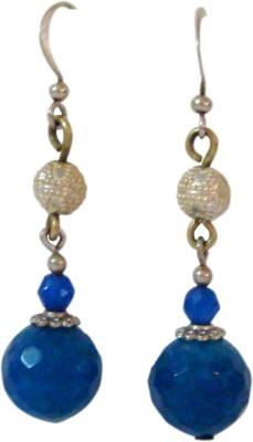 Store Utsav Chiseled Blue Jade Silver Dangle Earring