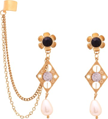 Sankisho Zam-N Pearl Metal, Alloy, Glass Cuff Earring