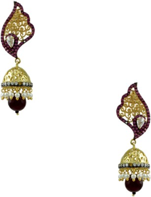 Orniza Victorian Earrings in Ruby Color and Black Gold Polish Brass Jhumki Earring