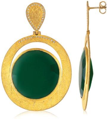 VelvetCase Oval Green Onyx Danglers Onyx Silver Stud Earring
