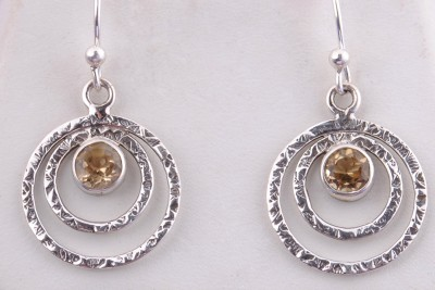 Tiwari Citrine Hanging Sterling Silver Dangle Earring