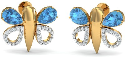 Zomint Dancing Blue Butterfly Yellow Gold 18kt Diamond Stud Earring
